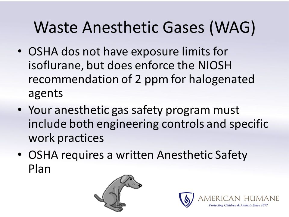 Waste Anesthetic Gases (WAG) OSHA dos not have exposure limits for isoflurane, but does enforce the NIOSH recommendation of 2 ppm for halogenated agents Your anesthetic gas safety program must include both engineering controls and specific work practices OSHA requires a written Anesthetic Safety Plan