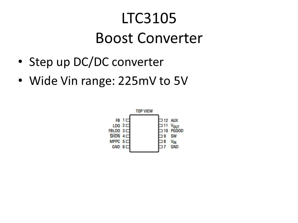 LTC3105 Boost Converter Step up DC/DC converter Wide Vin range: 225mV to 5V