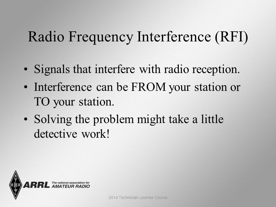 Radio Frequency Interference (RFI) Signals that interfere with radio reception.