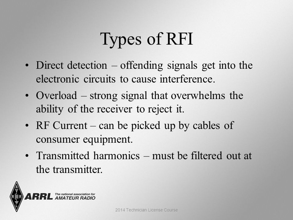 Types of RFI Direct detection – offending signals get into the electronic circuits to cause interference.