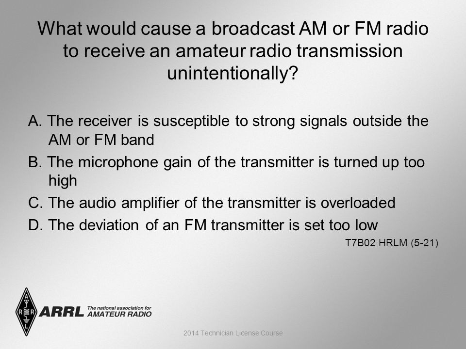A. The receiver is susceptible to strong signals outside the AM or FM band B.