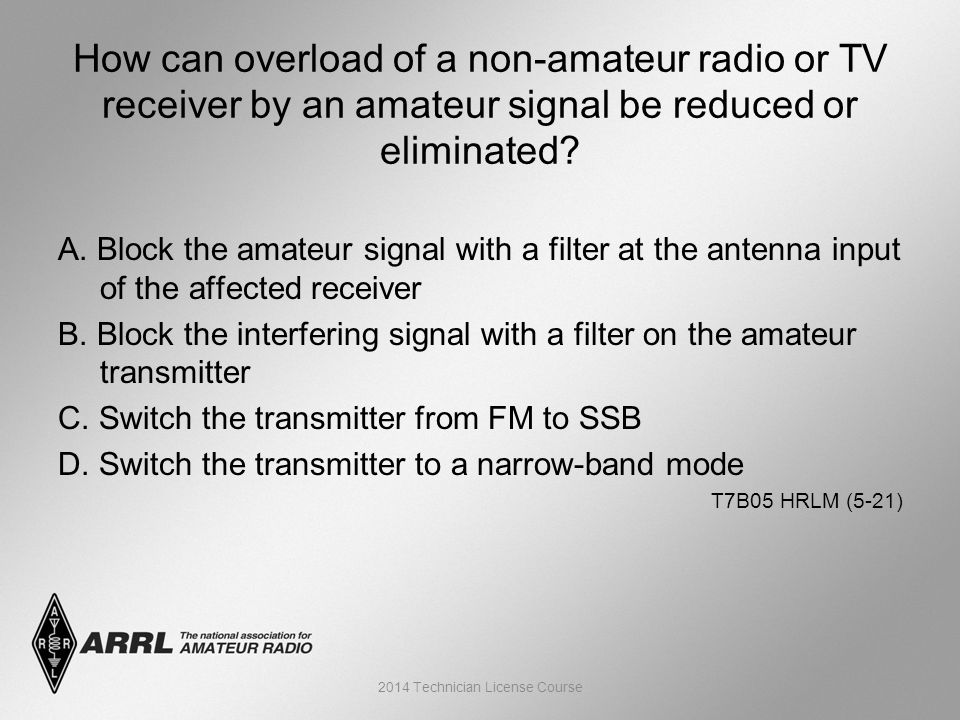 A. Block the amateur signal with a filter at the antenna input of the affected receiver B.