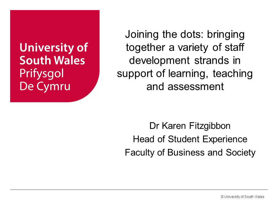 © University of South Wales Joining the dots: bringing together a variety of staff development strands in support of learning, teaching and assessment