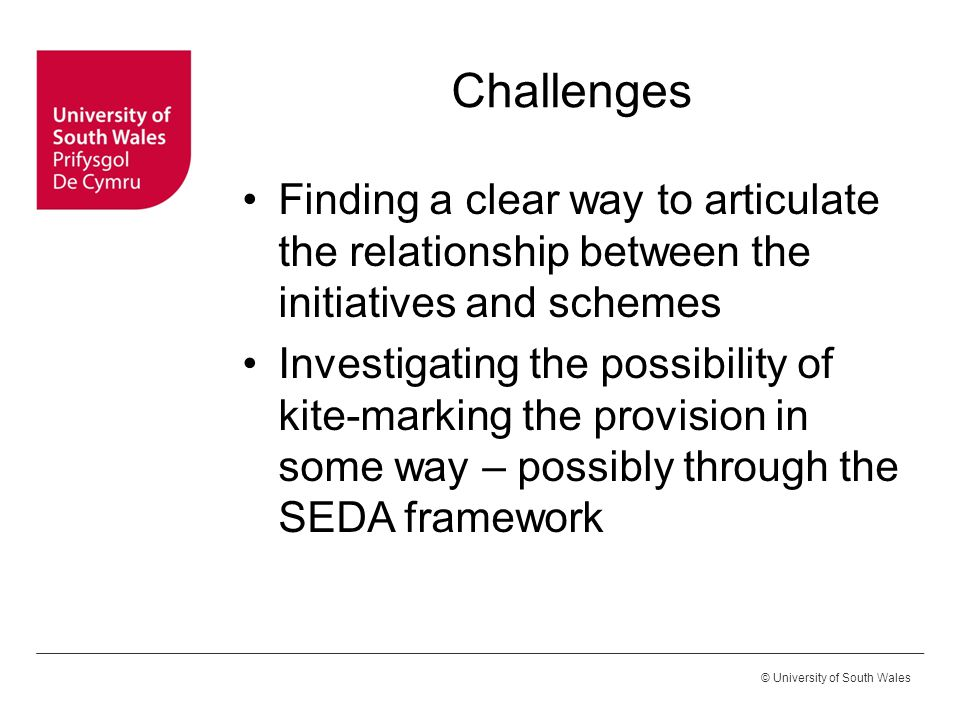 © University of South Wales Challenges Finding a clear way to articulate the relationship between the initiatives and schemes Investigating the possib