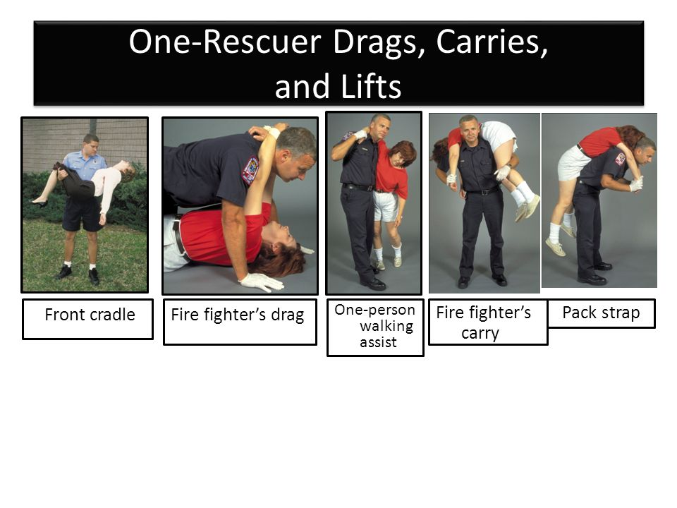 One-Rescuer Drags, Carries, and Lifts Front cradleFire fighter's drag One-person walking assist Fire fighter's carry Pack strap