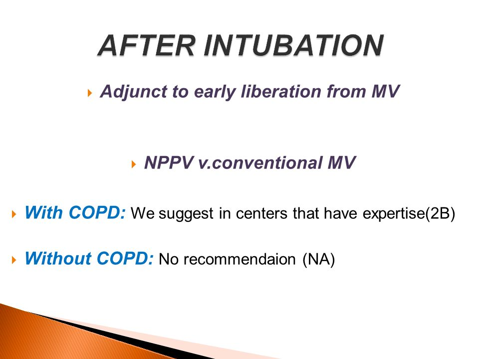 NPPV has been proposed as a means of facilitating weaningfrom invasive mechanical ventilation in patients with AECOPD and acute on chronic respiratory failure failing a single [79, 80] or repeated T-piece trial [81].