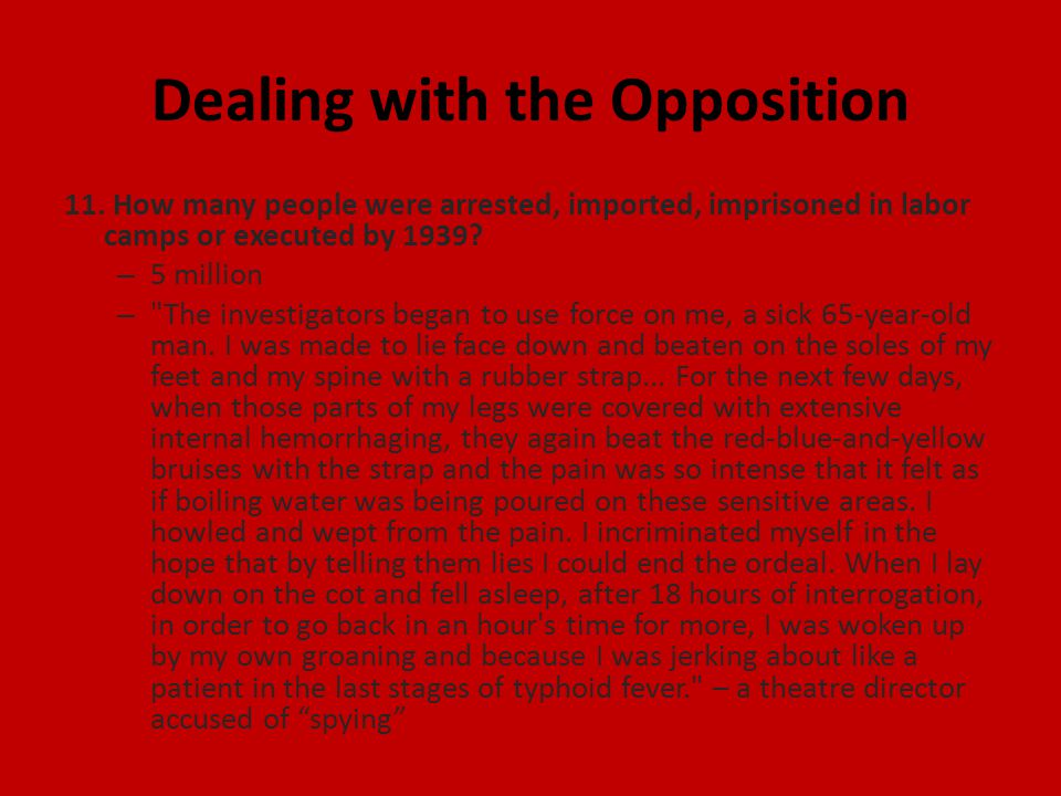 Dealing with the Opposition 11.