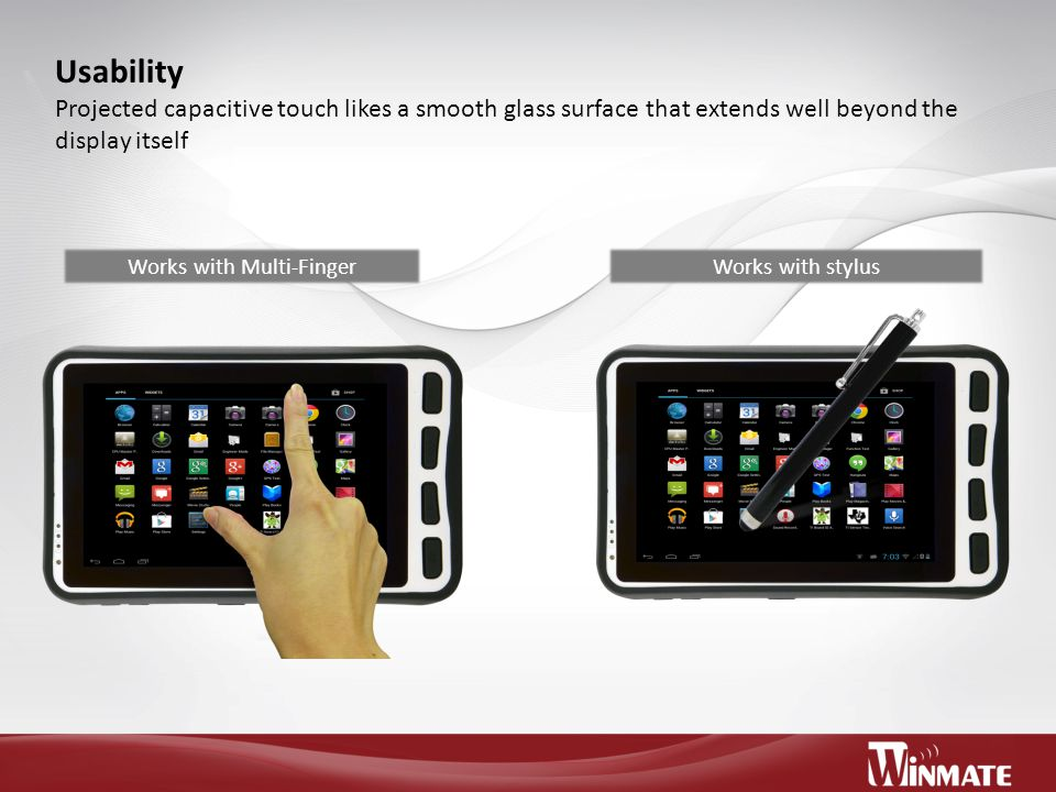 Usability Projected capacitive touch likes a smooth glass surface that extends well beyond the display itself Works with Multi-FingerWorks with stylus