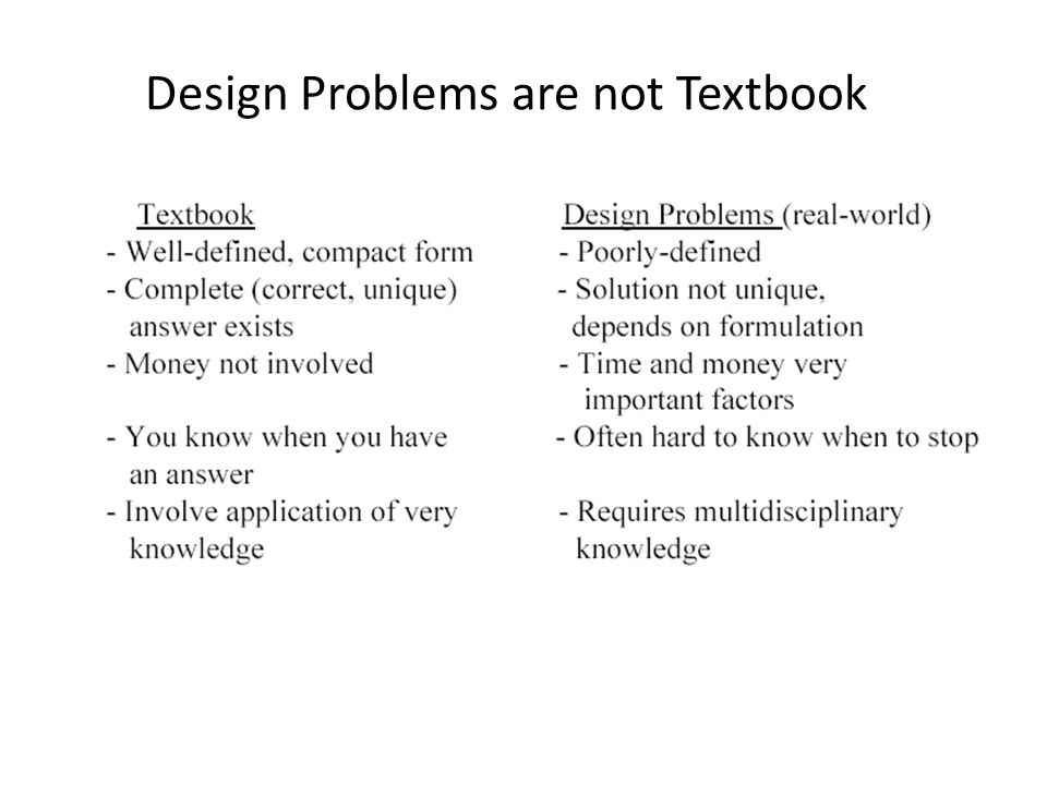 Design Problems are not Textbook