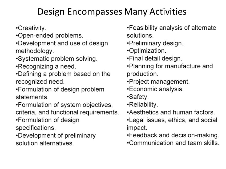 Design Encompasses Many Activities