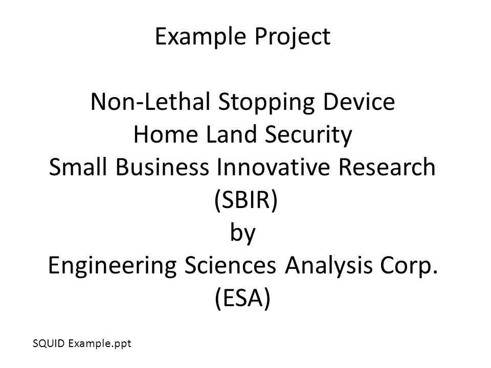 Example Project Non-Lethal Stopping Device Home Land Security Small Business Innovative Research (SBIR) by Engineering Sciences Analysis Corp.