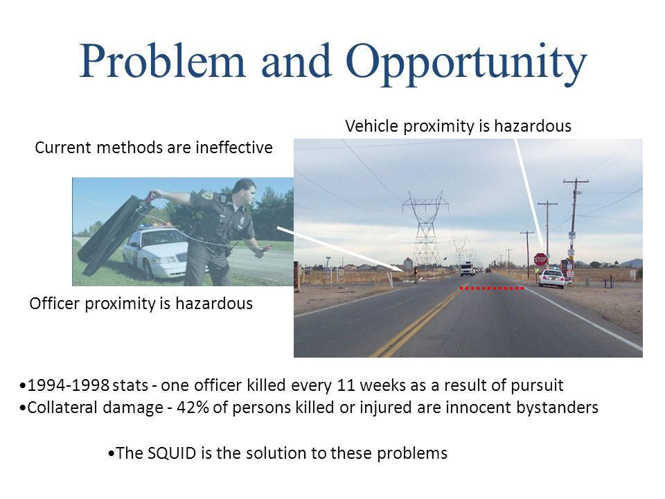 Current methods are ineffective The SQUID is the solution to these problems Problem and Opportunity Officer proximity is hazardous Vehicle proximity is hazardous 1994-1998 stats - one officer killed every 11 weeks as a result of pursuit Collateral damage - 42% of persons killed or injured are innocent bystanders