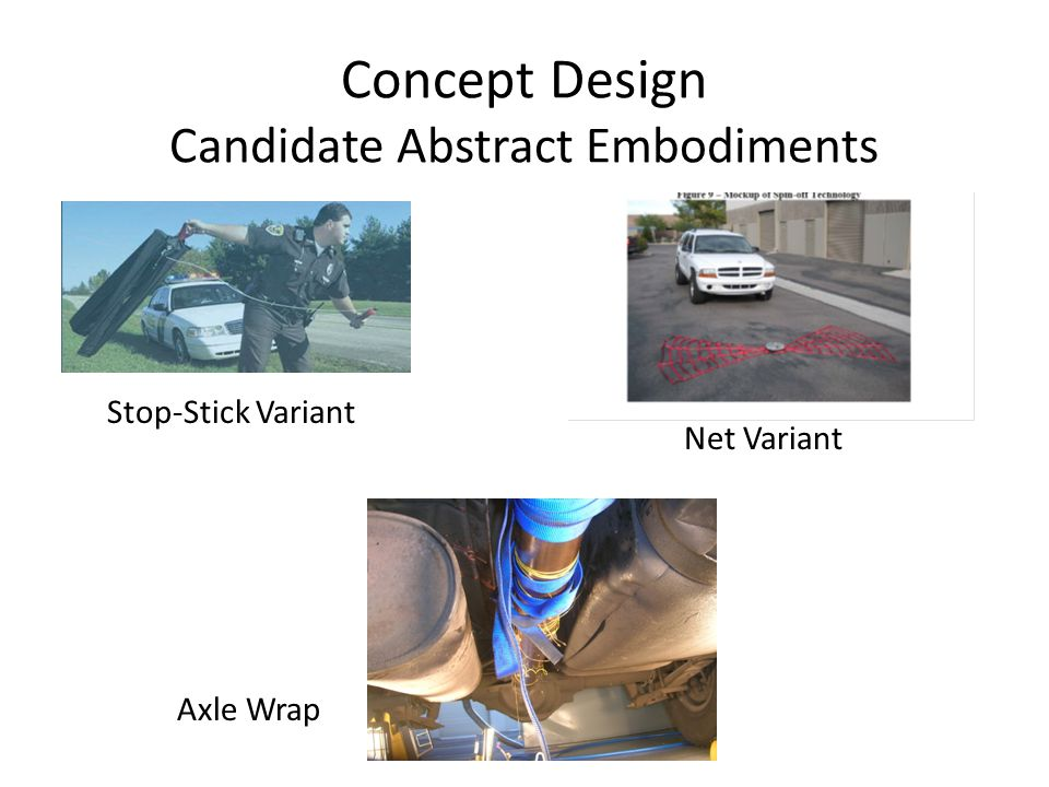 Concept Design Candidate Abstract Embodiments Stop-Stick Variant Net Variant Axle Wrap