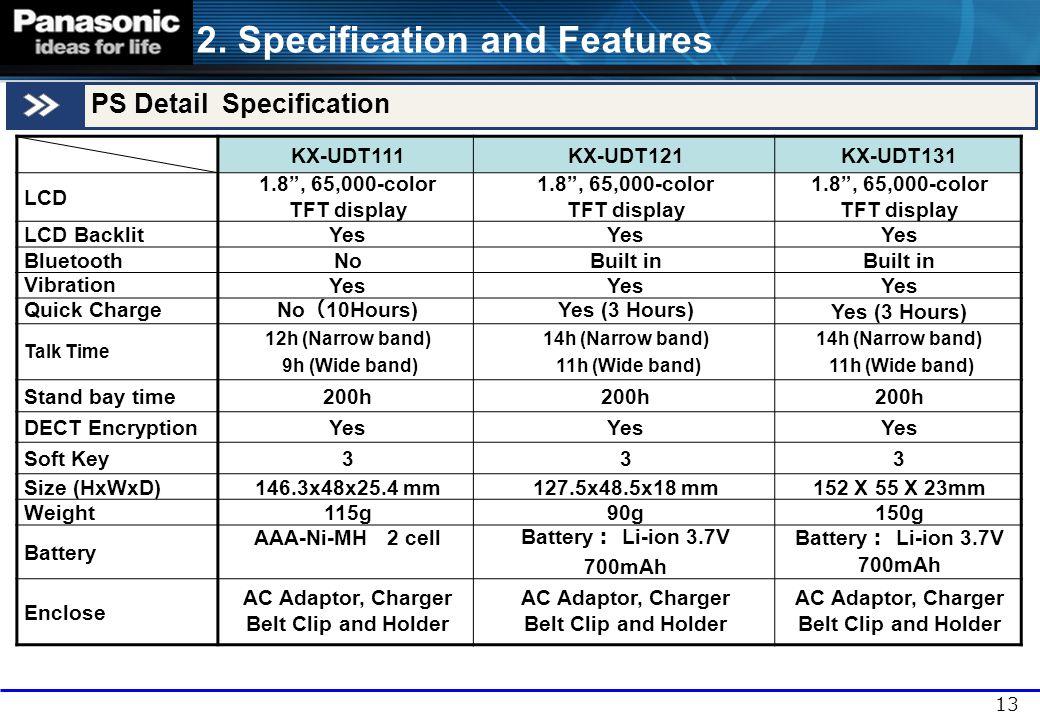 "13 PS Detail Specification KX-UDT111KX-UDT121KX-UDT131 LCD 1.8"", 65,000-color TFT display 1.8"", 65,000-color TFT display 1.8"", 65,000-color TFT displa"