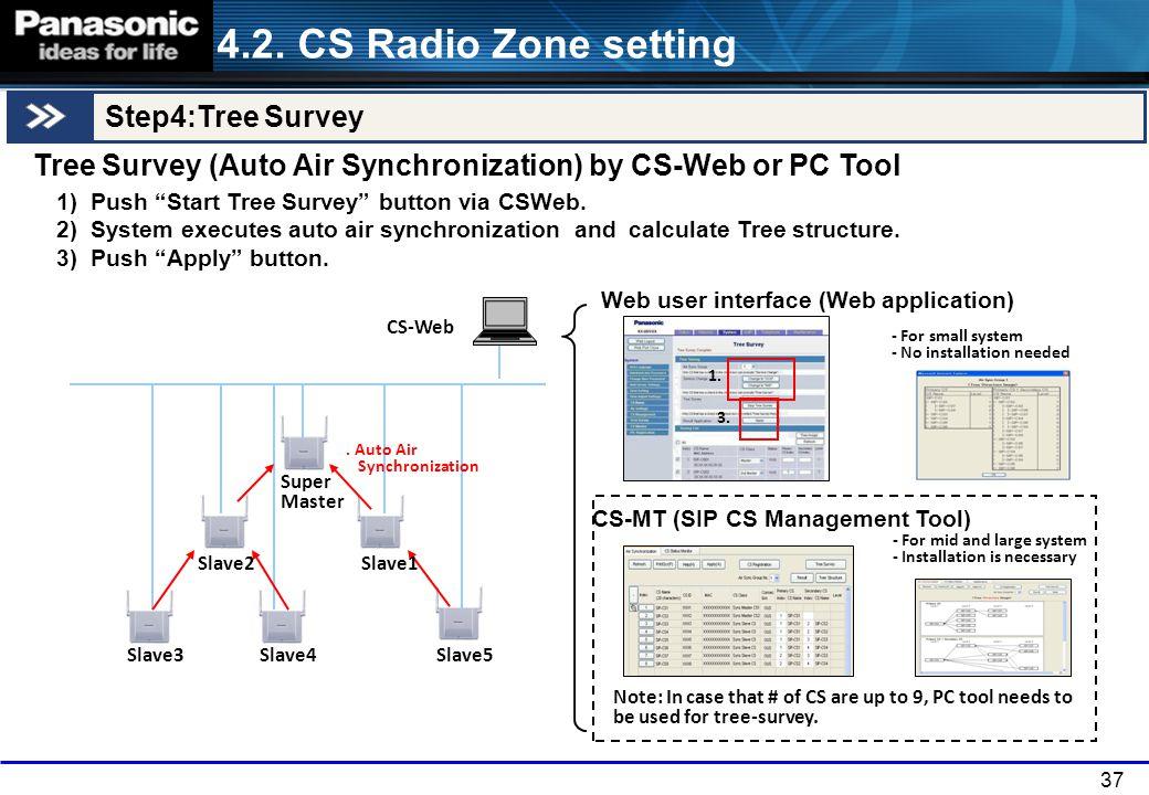 37 4.2. CS Radio Zone setting Step4:Tree Survey Tree Survey (Auto Air Synchronization) by CS-Web or PC Tool Web user interface (Web application) CS-MT