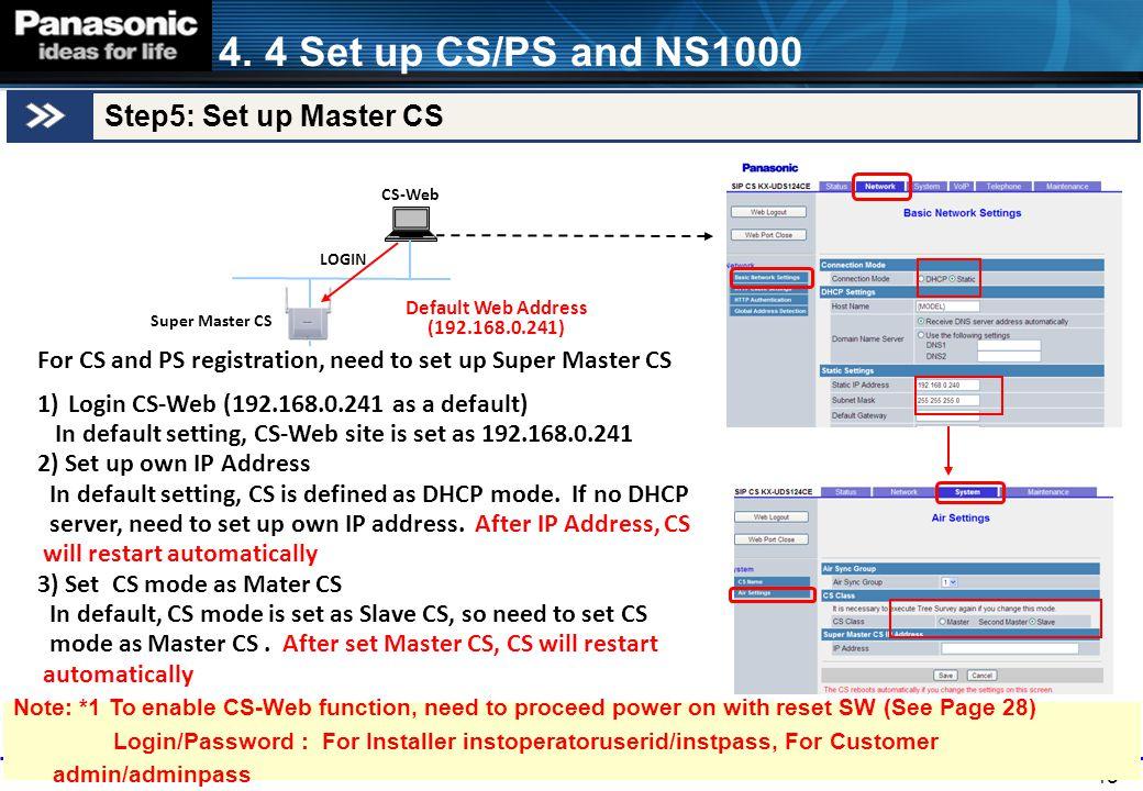 43 Default Web Address (192.168.0.241) CS-Web For CS and PS registration, need to set up Super Master CS 1)Login CS-Web (192.168.0.241 as a default) I