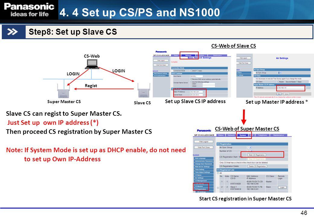 46 Slave CS Super Master CS CS-Web Slave CS can regist to Super Master CS. Just Set up own IP address (*) Then proceed CS registration by Super Master