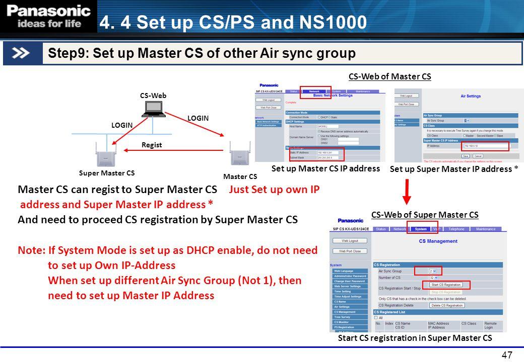 47 Master CS Super Master CS CS-Web Master CS can regist to Super Master CS Just Set up own IP address and Super Master IP address * And need to proce