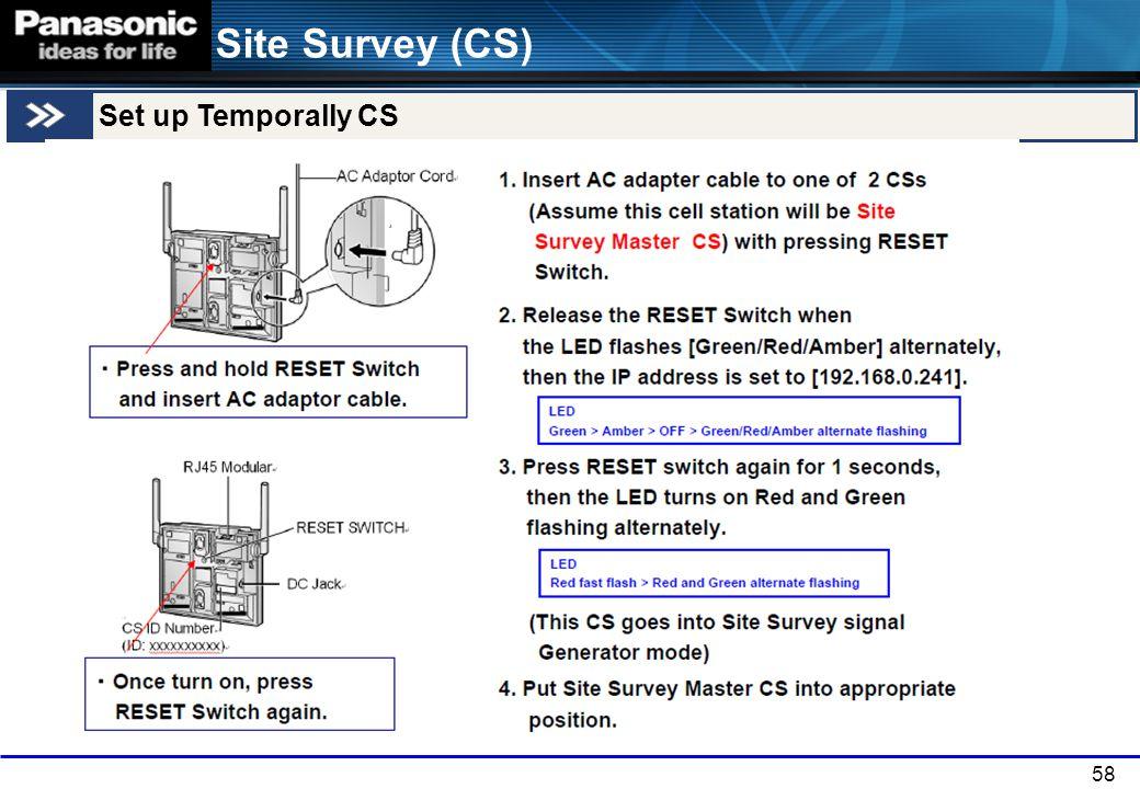 58 Site Survey (CS) Set up Temporally CS