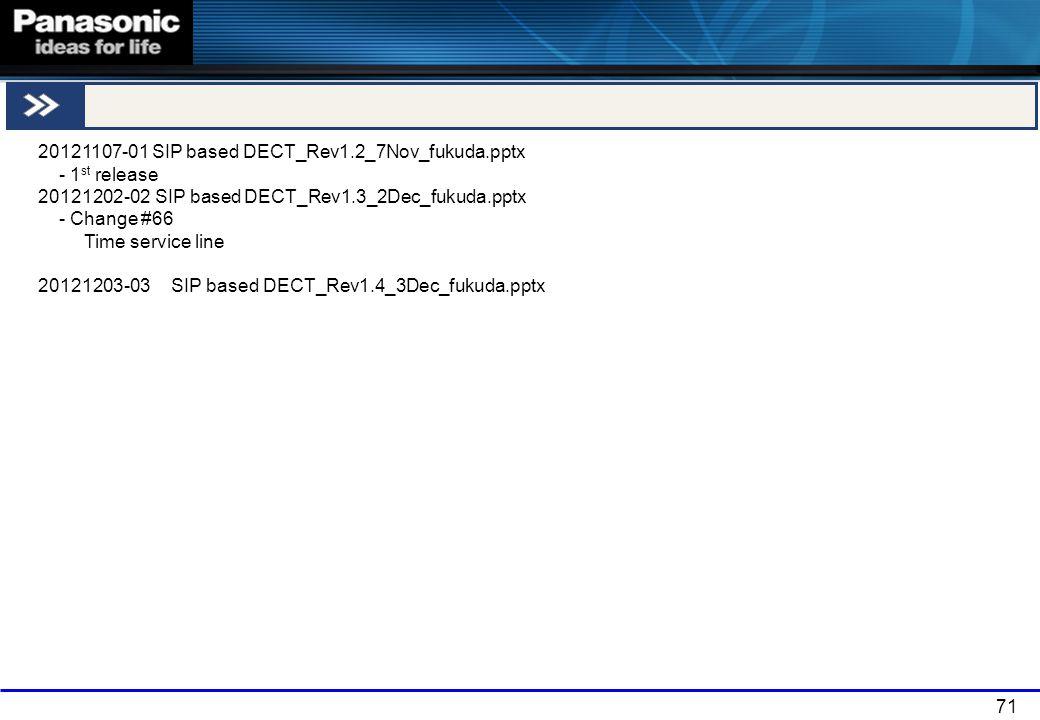 71 END 20121107-01 SIP based DECT_Rev1.2_7Nov_fukuda.pptx - 1 st release 20121202-02 SIP based DECT_Rev1.3_2Dec_fukuda.pptx - Change #66 Time service