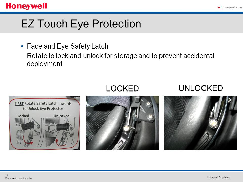 Honeywell Proprietary Honeywell.com  10 Document control number EZ Touch Eye Protection Face and Eye Safety Latch Rotate to lock and unlock for stora