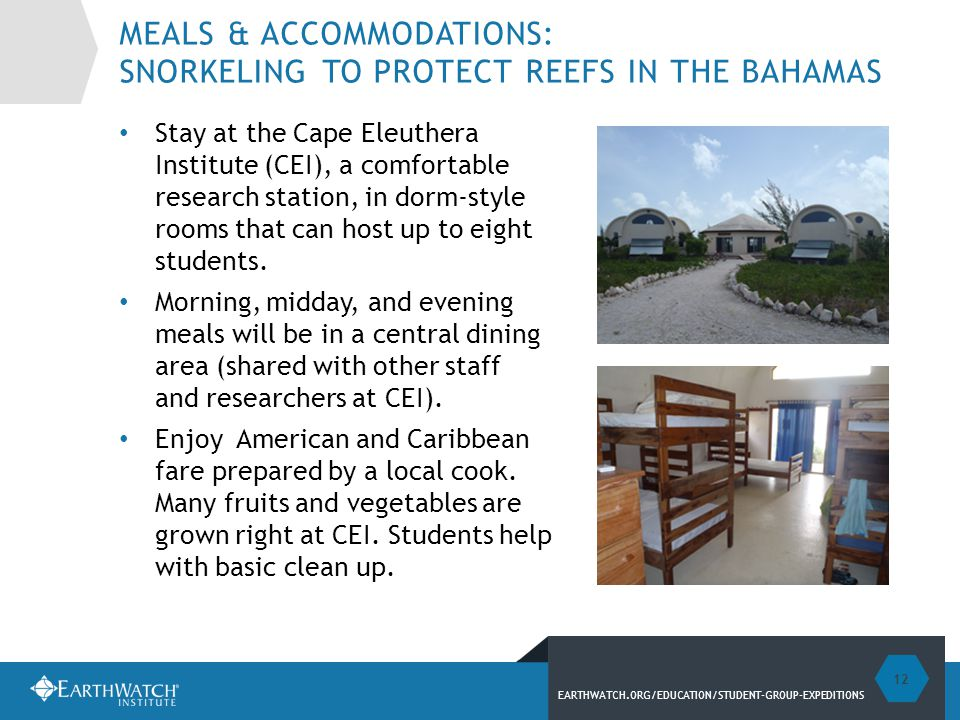 EARTHWATCH.ORG/EDUCATION/STUDENT-GROUP-EXPEDITIONS MEALS & ACCOMMODATIONS: SNORKELING TO PROTECT REEFS IN THE BAHAMAS Stay at the Cape Eleuthera Institute (CEI), a comfortable research station, in dorm-style rooms that can host up to eight students.