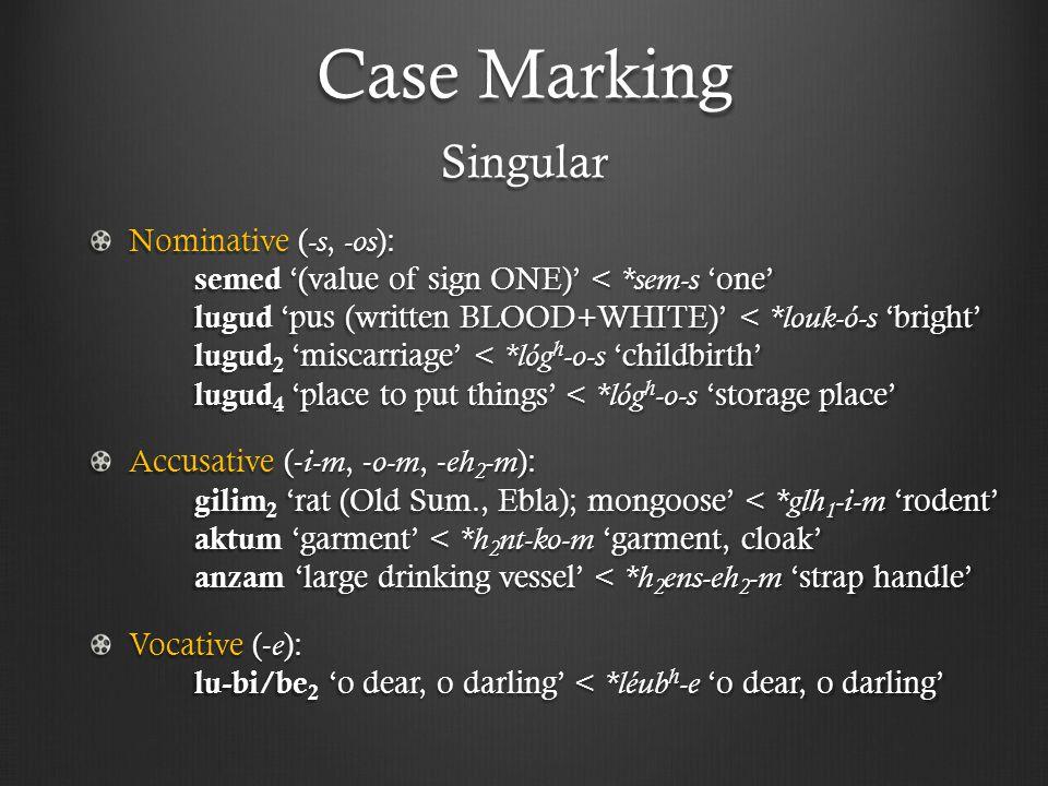 Case Marking Singular Nominative ( -s, -os ): semed '(value of sign ONE)' < *sem-s 'one' lugud 'pus (written BLOOD+WHITE)' < *louk-ó-s 'bright' lugud 2 'miscarriage' < *lóg h -o-s 'childbirth' lugud 4 'place to put things' < *lóg h -o-s 'storage place' Accusative (- i-m, - o-m, - eh 2 -m ): gilim 2 'rat (Old Sum., Ebla); mongoose' < *glh 1 -i-m 'rodent' aktum 'garment' < *h 2 nt-ko-m 'garment, cloak' anzam 'large drinking vessel' < *h 2 ens-eh 2 -m 'strap handle' Vocative (- e ): lu-bi/be 2 'o dear, o darling' < *léub h -e 'o dear, o darling'