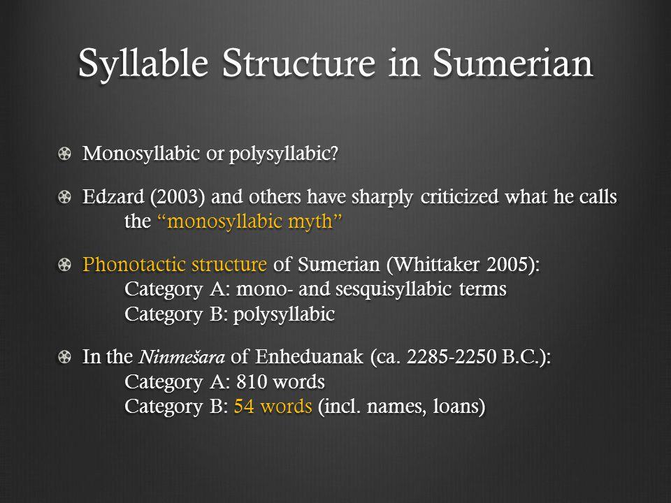 Syllable Structure in Sumerian Monosyllabic or polysyllabic.