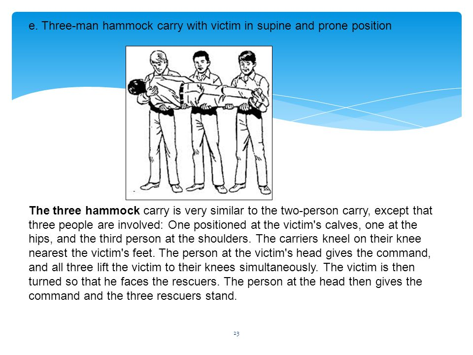 e. Three-man hammock carry with victim in supine and prone position The three hammock carry is very similar to the two-person carry, except that three