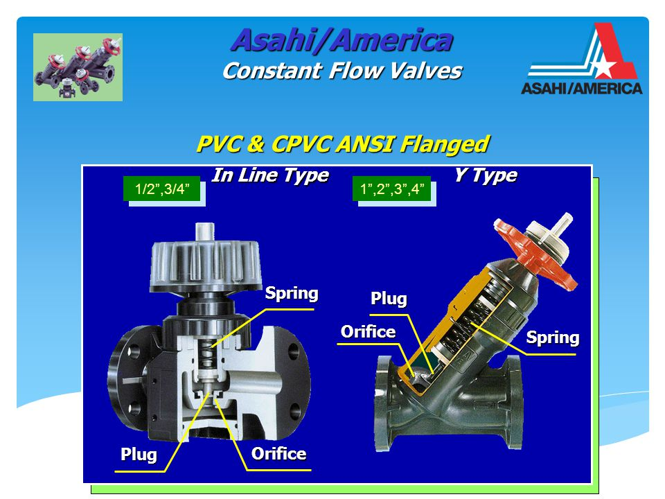 Automatically Maintains a Constant Flow, Even If Automatically Maintains a Constant Flow, Even If The Differential Pressure Changes The Differential Pressure Changes All Thermoplastic Construction All Thermoplastic Construction Extremely Corrosion Resistant Extremely Corrosion Resistant High Accuracy +- 6% of Full Scale High Accuracy +- 6% of Full Scale Flexible Flow Rates Flexible Flow Rates Visual Position Indicator Visual Position Indicator Features & Benefits Asahi/America Constant Flow Valves