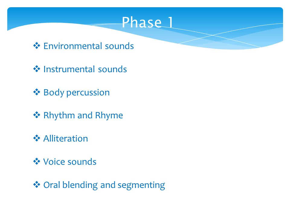 Phase 1  Environmental sounds  Instrumental sounds  Body percussion  Rhythm and Rhyme  Alliteration  Voice sounds  Oral blending and segmenting