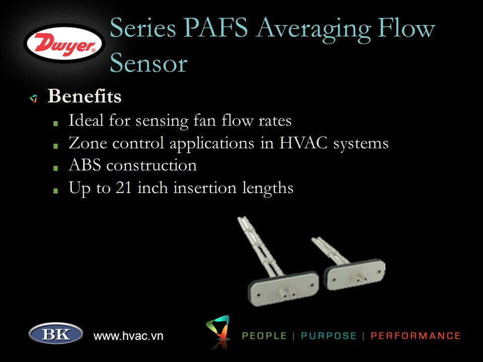 www.hvac.vn Series MAFS Metal Averaging Flow Sensor Features Airfoil design provides enhanced performance and minimal flow disruption Up to 48 inch probes Rigid aluminum construction