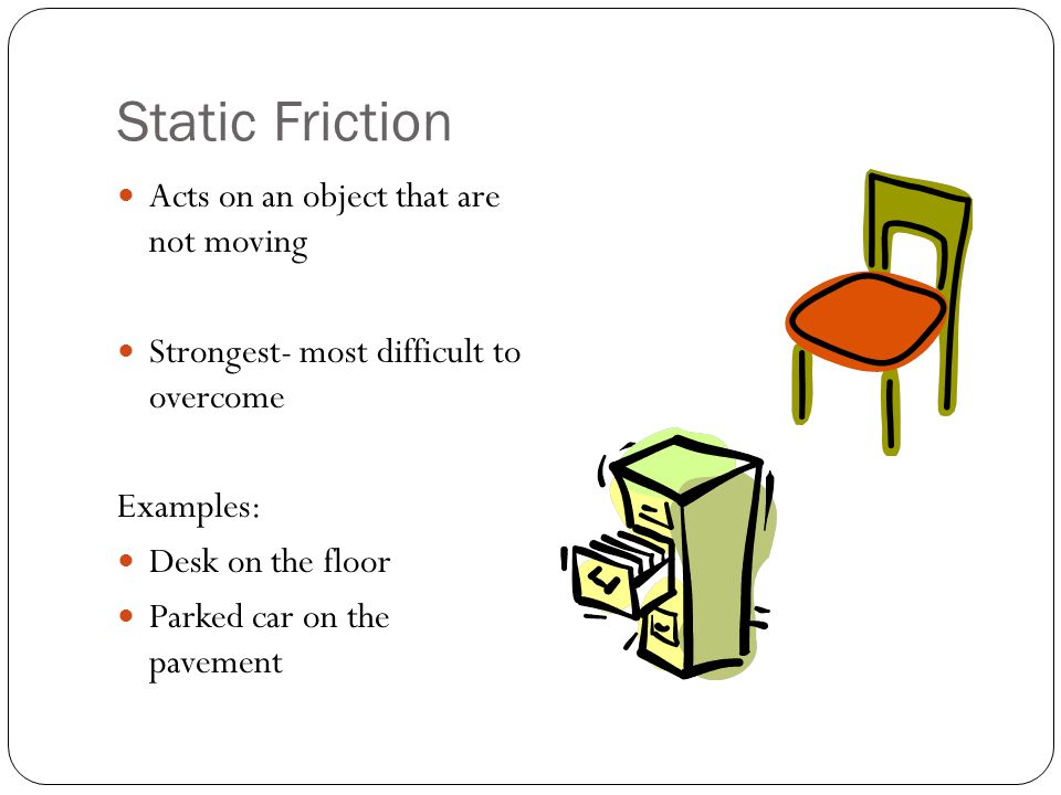 Static Friction Acts on an object that are not moving Strongest- most difficult to overcome Examples: Desk on the floor Parked car on the pavement