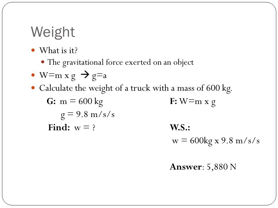 Weight What is it.