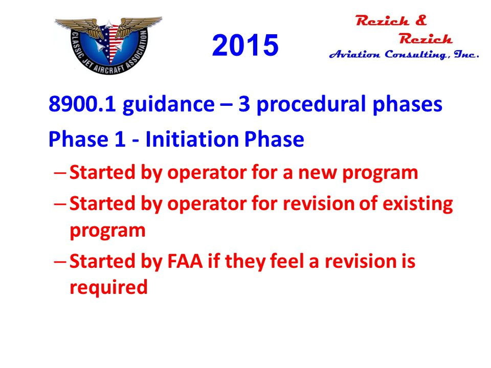 8900.1 guidance – 3 procedural phases Phase 1 - Initiation Phase – Started by operator for a new program – Started by operator for revision of existin
