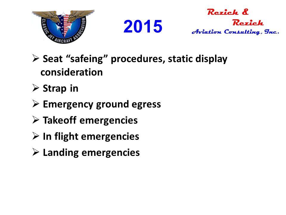 "2015  Seat ""safeing"" procedures, static display consideration  Strap in  Emergency ground egress  Takeoff emergencies  In flight emergencies  La"