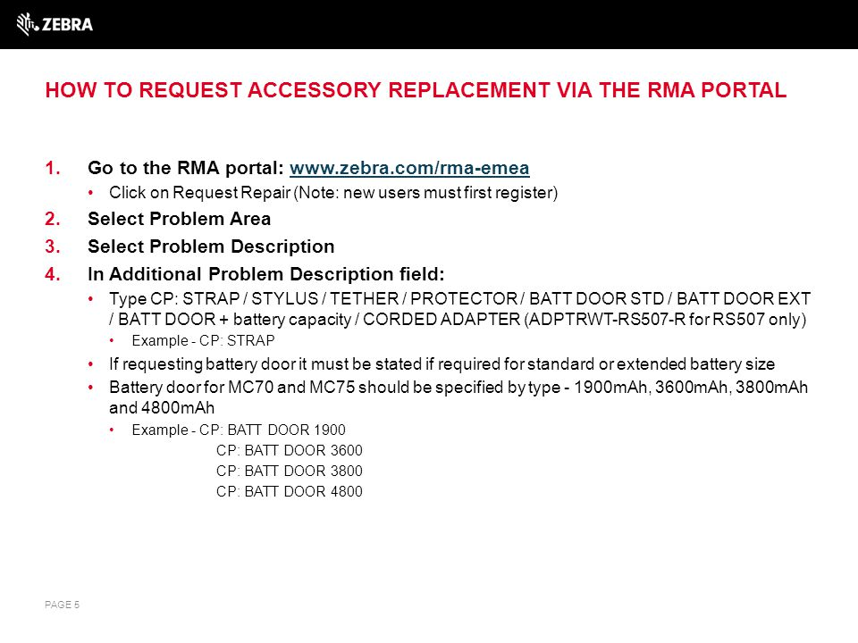 EXAMPLE OF HOW ACCESSORY REPLACEMENT REQUESTS SHOULD BE LOGGED VIA THE ONLINE RMA PORTAL FORM PAGE 6