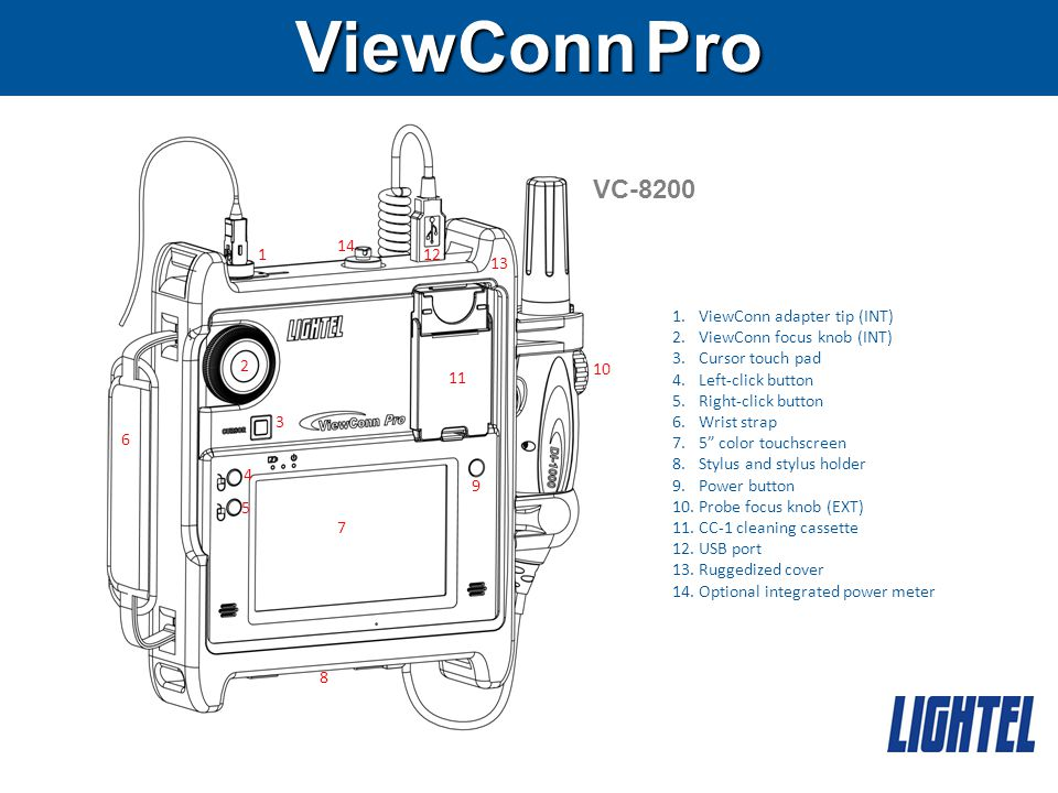 ViewConn Pro VC-8200 12 1.ViewConn adapter tip (INT) 2.ViewConn focus knob (INT) 3.Cursor touch pad 4.Left-click button 5.Right-click button 6.Wrist strap 7.5 color touchscreen 8.Stylus and stylus holder 9.Power button 10.Probe focus knob (EXT) 11.CC-1 cleaning cassette 12.USB port 13.Ruggedized cover 14.Optional integrated power meter 1 2 3 4 6 5 10 9 7 8 14 11 13