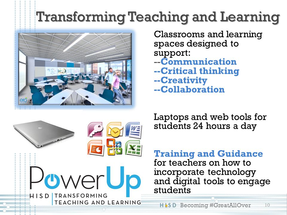 HISD Becoming #GreatAllOver Classrooms and learning spaces designed to support: --Communication --Critical thinking --Creativity --Collaboration Laptops and web tools for students 24 hours a day Training and Guidance for teachers on how to incorporate technology and digital tools to engage students 10 Transforming Teaching and Learning