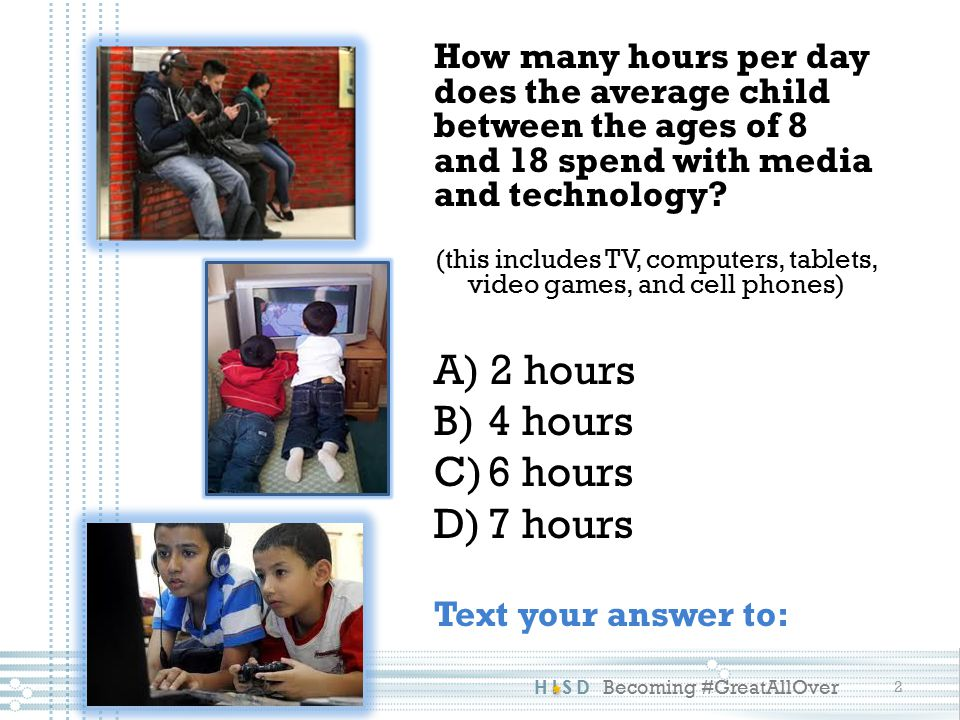 How many hours per day does the average child between the ages of 8 and 18 spend with media and technology.