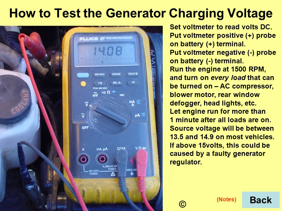 Set voltmeter to read volts DC. Put voltmeter positive (+) probe on battery (+) terminal.