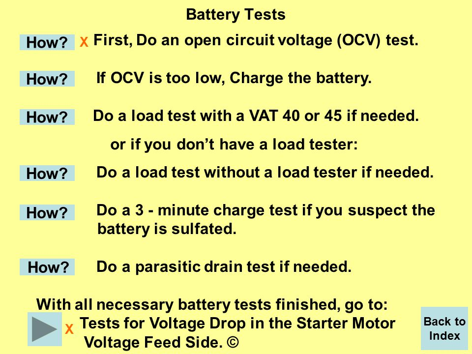 Voltmeter set to read millivolts or on the lowest volt setting.