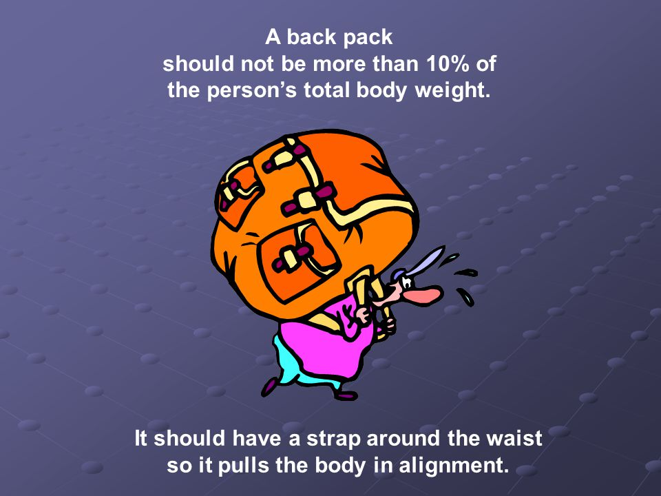 A back pack should not be more than 10% of the person's total body weight.