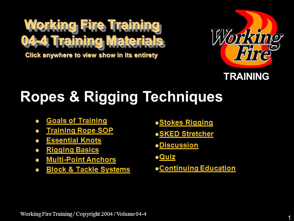 Working Fire Training / Copyright 2004 / Volume 04-4 12 Ropes & Rigging Techniques Two primary anchor points/one secondary –The idea is to set up two anchor points somewhat separate from each other, but connected.