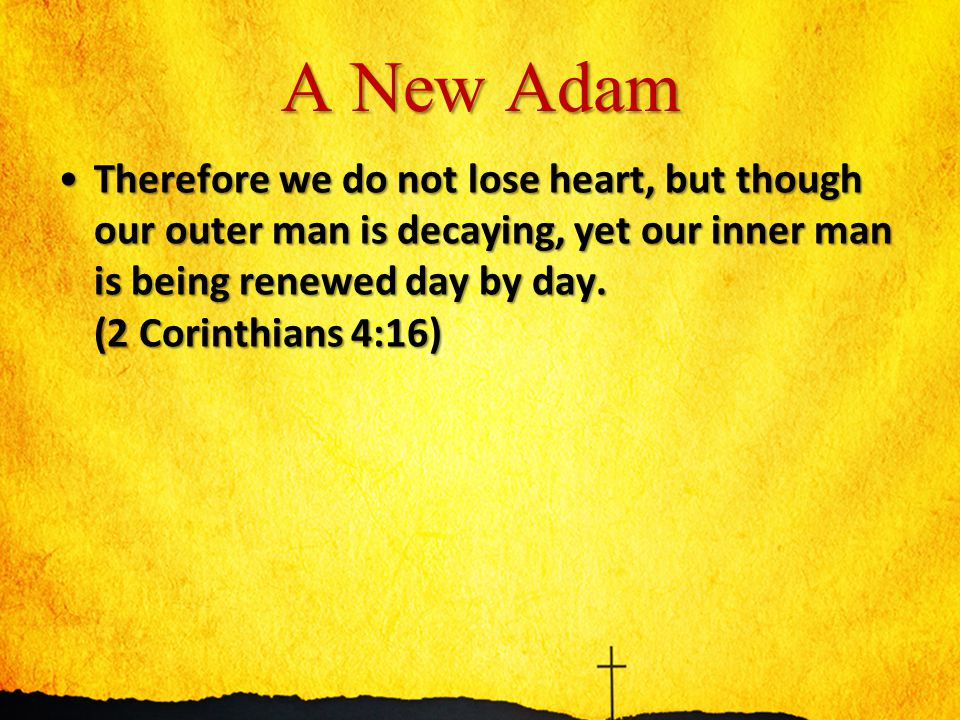 A New Adam Therefore we do not lose heart, but though our outer man is decaying, yet our inner man is being renewed day by day.