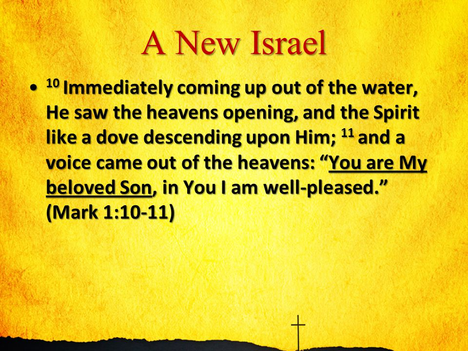A New Israel 10 Immediately coming up out of the water, He saw the heavens opening, and the Spirit like a dove descending upon Him; 11 and a voice came out of the heavens: You are My beloved Son, in You I am well-pleased. (Mark 1:10-11) 10 Immediately coming up out of the water, He saw the heavens opening, and the Spirit like a dove descending upon Him; 11 and a voice came out of the heavens: You are My beloved Son, in You I am well-pleased. (Mark 1:10-11)