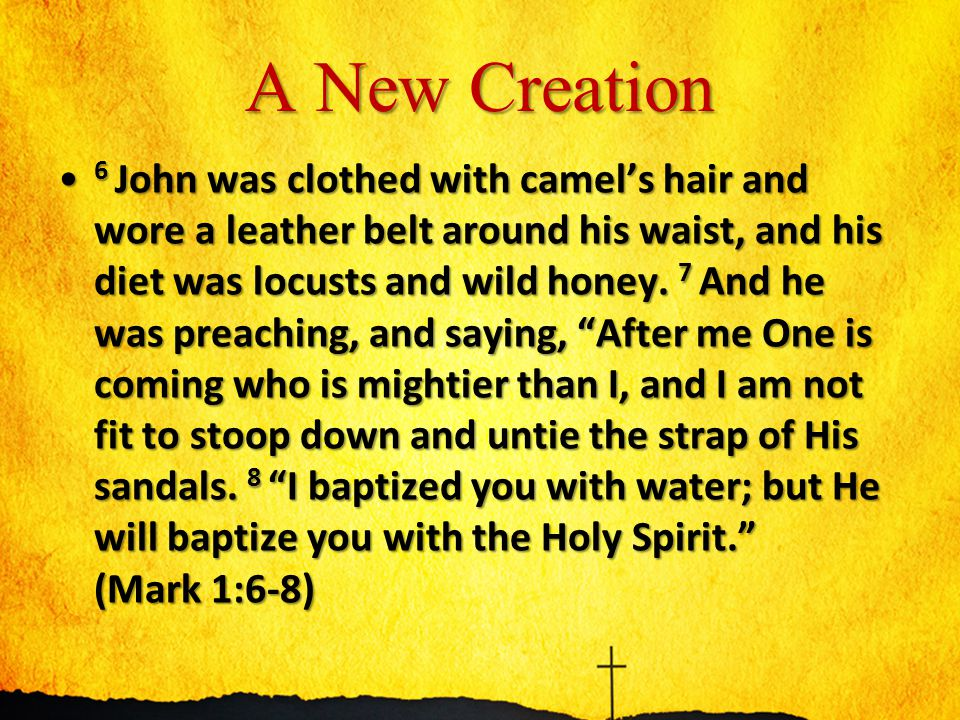 A New Creation 6 John was clothed with camel's hair and wore a leather belt around his waist, and his diet was locusts and wild honey.