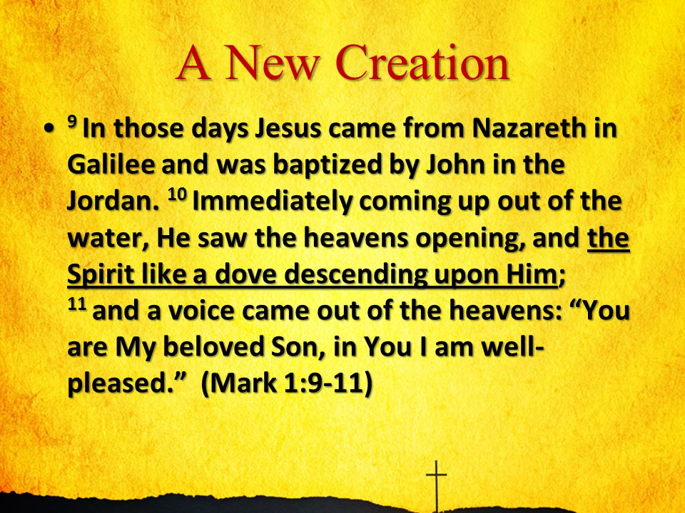 A New Creation 1 In the beginning, God created the heavens and the earth.