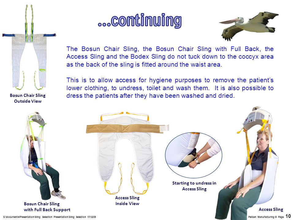 The Bosun Chair Sling, the Bosun Chair Sling with Full Back, the Access Sling and the Bodex Sling do not tuck down to the coccyx area as the back of the sling is fitted around the waist area.