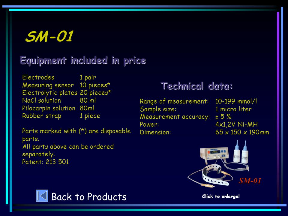 SM-01 Technical data: Equipment included in price SM-01 Back to Products Click to enlarge.